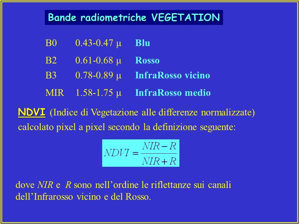 Bande radiometriche VEGETATION B00.43-0.47 μBlu B20.61-0.68 μRosso B30.78-0.89 μInfraRosso vicino MIR1.58-1.75 μInfraRosso medio NDVI NDVI (Indice di Vegetazione alle differenze normalizzate) calcolato pixel a pixel secondo la definizione seguente: dove NIR e R sono nell'ordine le riflettanze sui canali dell'Infrarosso vicino e del Rosso.