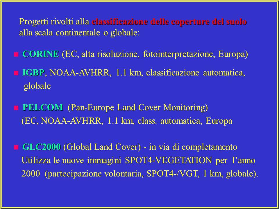 classificazione delle coperture del suolo Progetti rivolti alla classificazione delle coperture del suolo alla scala continentale o globale: CORINE  CORINE (EC, alta risoluzione, fotointerpretazione, Europa) IGBP  IGBP, NOAA-AVHRR, 1.1 km, classificazione automatica, globale PELCOM  PELCOM (Pan-Europe Land Cover Monitoring) (EC, NOAA-AVHRR, 1.1 km, class.