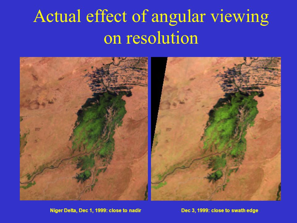 Actual effect of angular viewing on resolution Niger Delta, Dec 1, 1999: close to nadirDec 3, 1999: close to swath edge