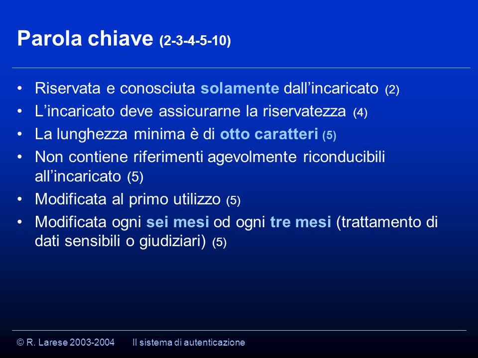 © R. Larese 2003-2004 Parola chiave (2-3-4-5-10) Riservata e conosciuta solamente dall'incaricato (2) L'incaricato deve assicurarne la riservatezza (4