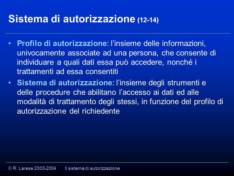© R. Larese 2003-2004 Sistema di autorizzazione (12-14) Profilo di autorizzazione: l'insieme delle informazioni, univocamente associate ad una persona