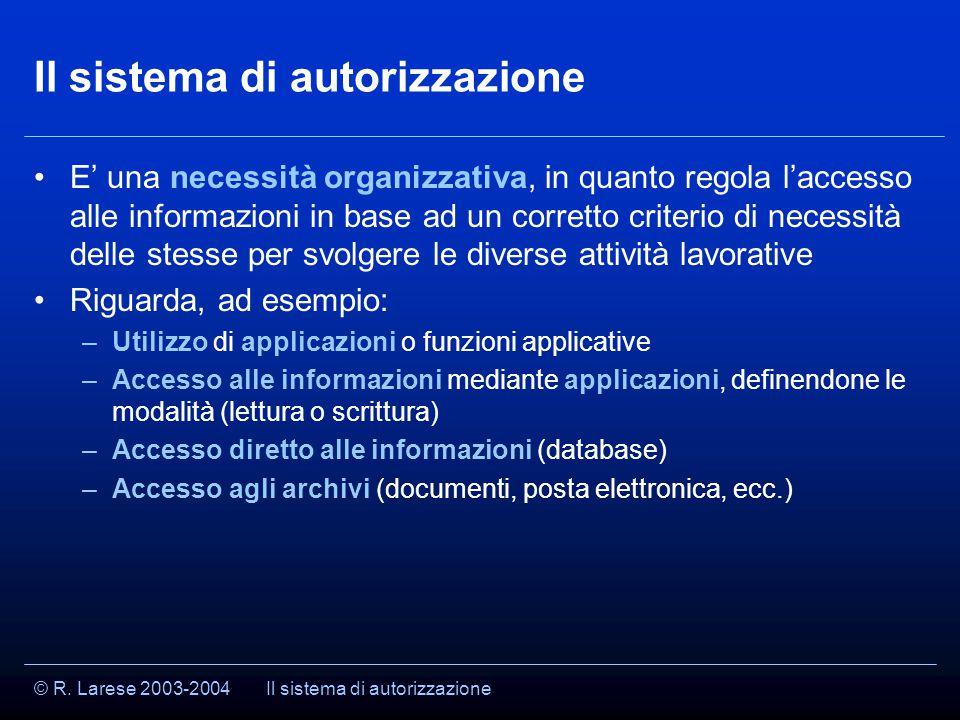 © R. Larese 2003-2004 Il sistema di autorizzazione E' una necessità organizzativa, in quanto regola l'accesso alle informazioni in base ad un corretto
