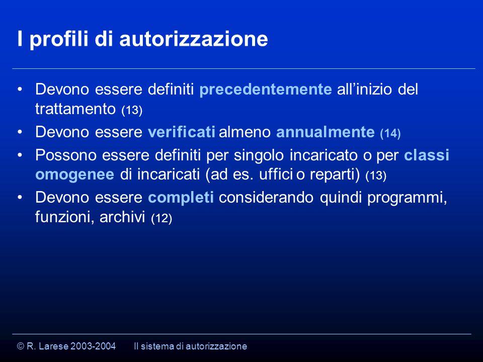 © R. Larese 2003-2004 I profili di autorizzazione Devono essere definiti precedentemente all'inizio del trattamento (13) Devono essere verificati alme