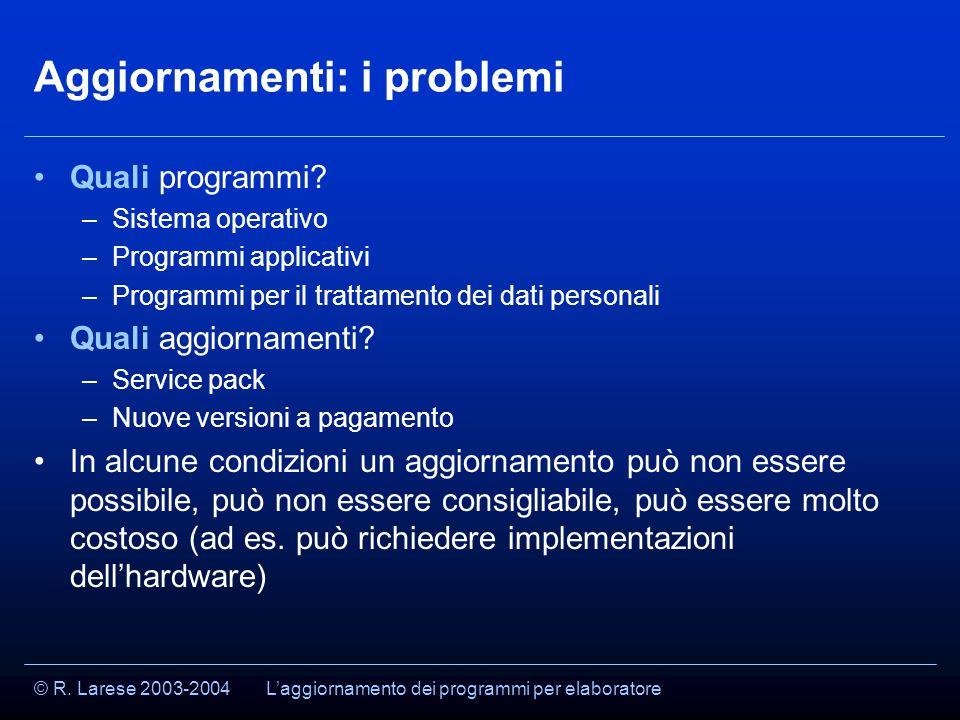 © R. Larese 2003-2004 Aggiornamenti: i problemi Quali programmi.
