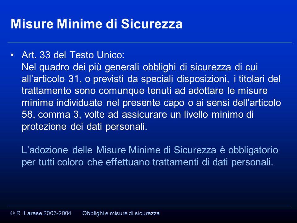 © R. Larese 2003-2004 Misure Minime di Sicurezza Art.