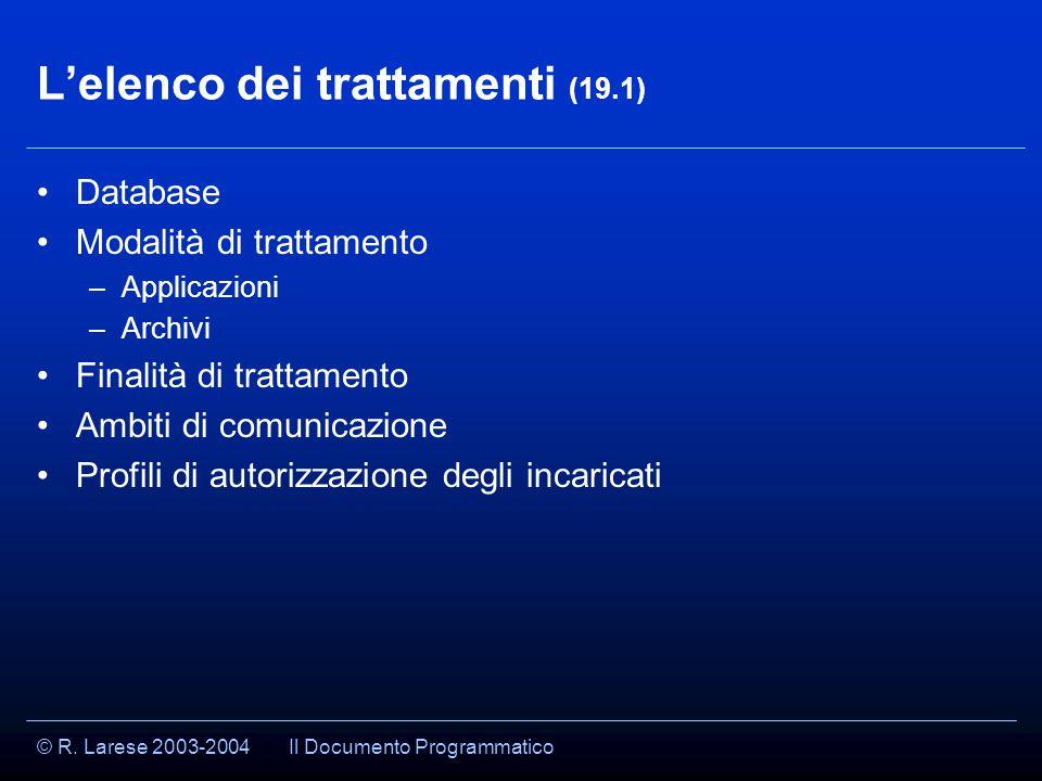 © R. Larese 2003-2004 L'elenco dei trattamenti (19.1) Database Modalità di trattamento –Applicazioni –Archivi Finalità di trattamento Ambiti di comuni