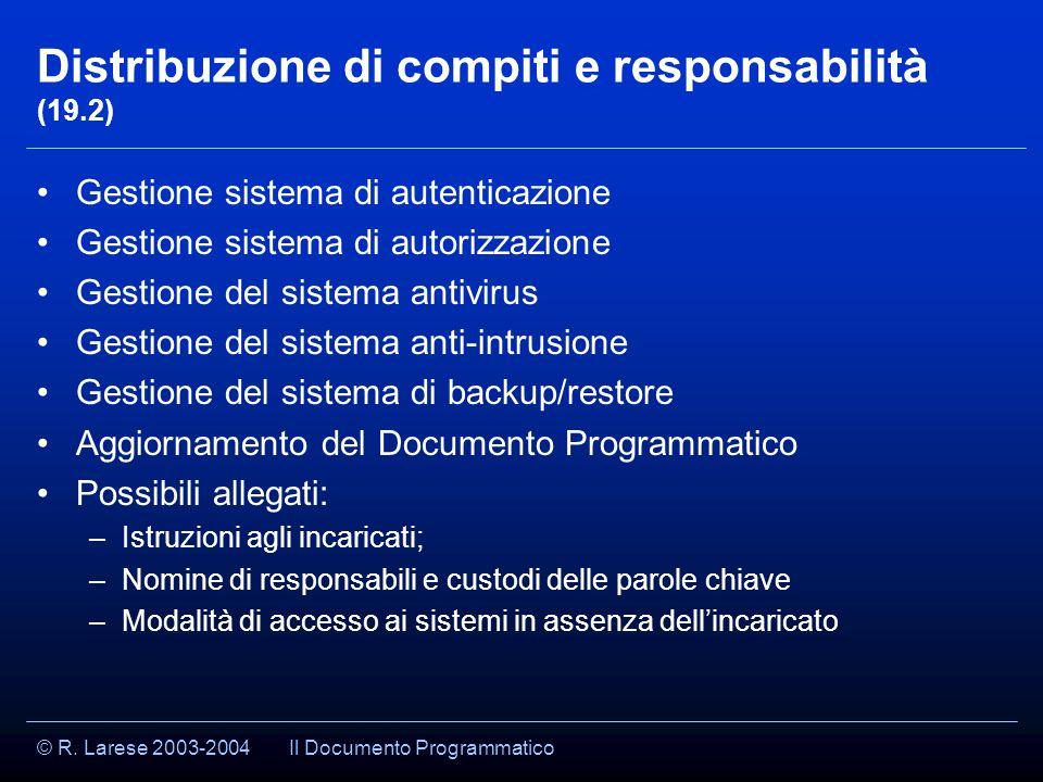 © R. Larese 2003-2004 Distribuzione di compiti e responsabilità (19.2) Gestione sistema di autenticazione Gestione sistema di autorizzazione Gestione