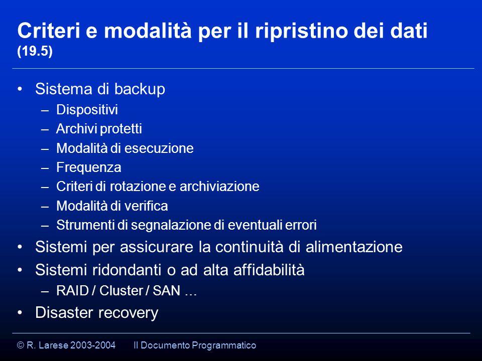 © R. Larese 2003-2004 Criteri e modalità per il ripristino dei dati (19.5) Sistema di backup –Dispositivi –Archivi protetti –Modalità di esecuzione –F