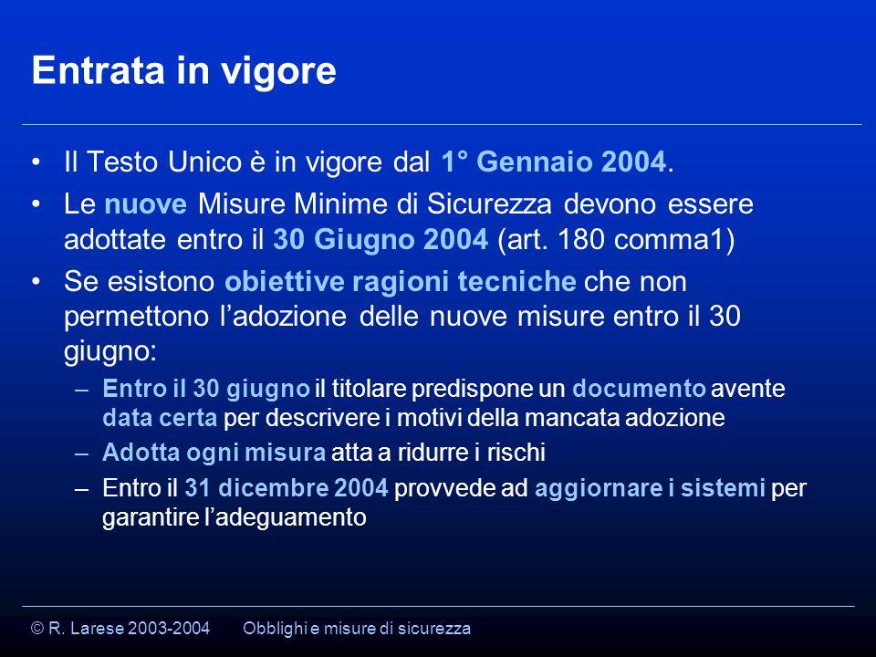 © R. Larese 2003-2004 Entrata in vigore Il Testo Unico è in vigore dal 1° Gennaio 2004.