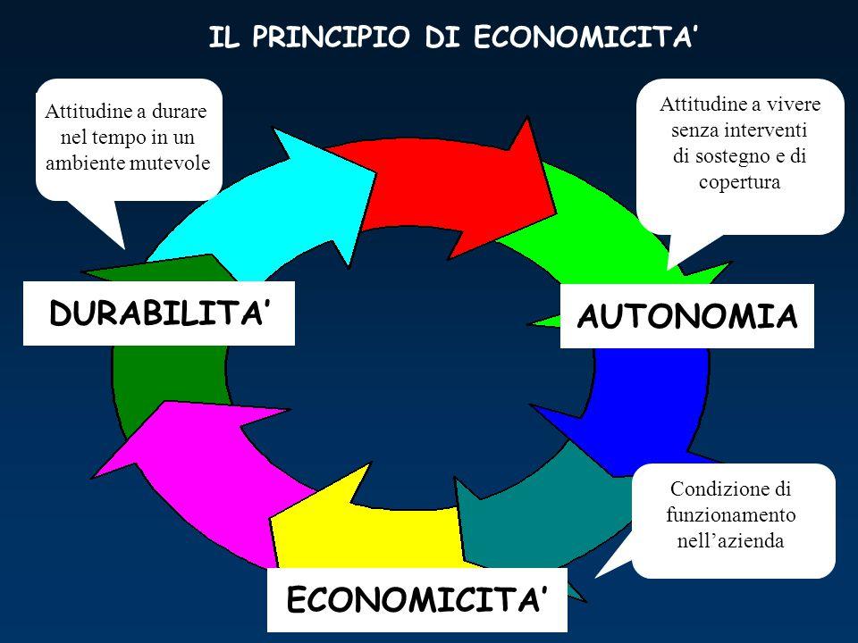 DURABILITA' ECONOMICITA' AUTONOMIA Condizione di funzionamento nell'azienda Attitudine a vivere senza interventi di sostegno e di copertura Attitudine