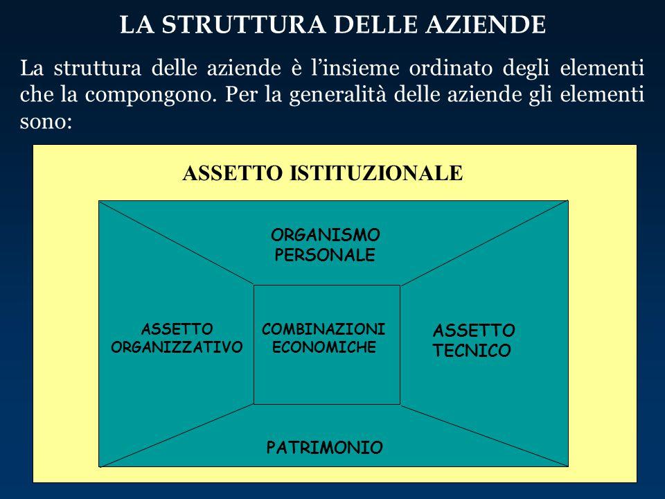 ASSETTO ISTITUZIONALE La struttura delle aziende è l'insieme ordinato degli elementi che la compongono. Per la generalità delle aziende gli elementi s