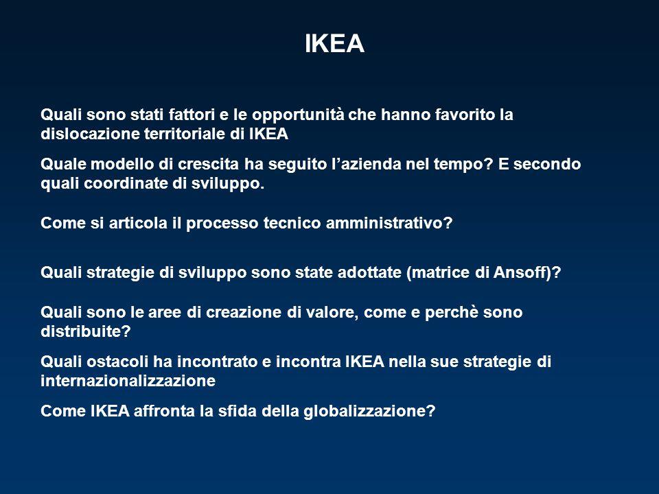 IKEA Quali sono stati fattori e le opportunità che hanno favorito la dislocazione territoriale di IKEA Quale modello di crescita ha seguito l'azienda