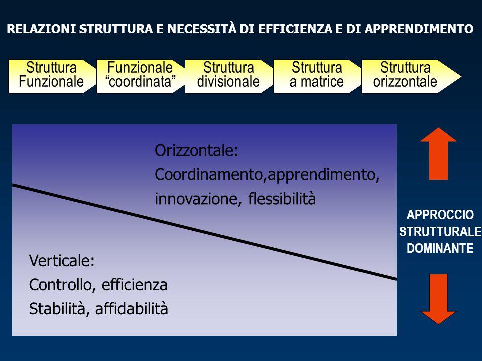 """RELAZIONI STRUTTURA E NECESSITÀ DI EFFICIENZA E DI APPRENDIMENTO APPROCCIO STRUTTURALE DOMINANTE Struttura Funzionale Funzionale """"coordinata"""" Struttur"""