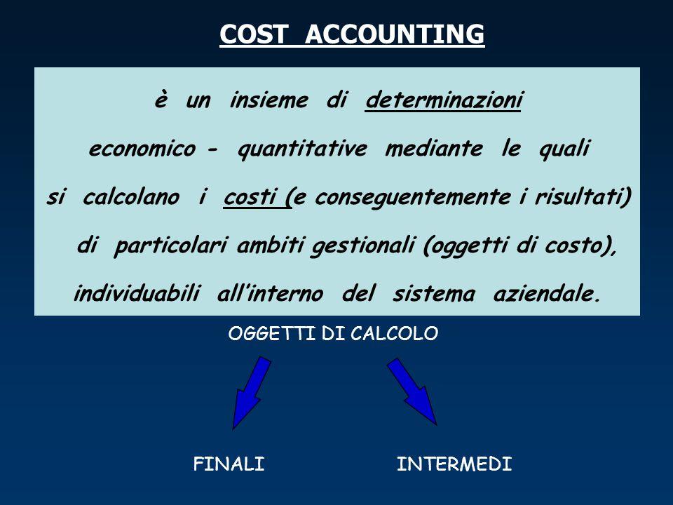 COST ACCOUNTING è un insieme di determinazioni economico - quantitative mediante le quali si calcolano i costi (e conseguentemente i risultati) di par