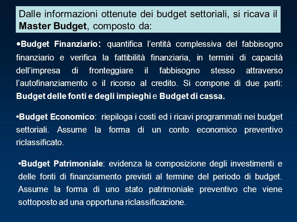 Budget Finanziario : quantifica l'entità complessiva del fabbisogno finanziario e verifica la fattibilità finanziaria, in termini di capacità dell'imp