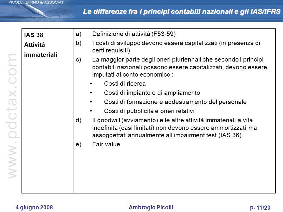 Le differenze fra i principi contabili nazionali e gli IAS/IFRS 10/20 4 giugno 2008 Ambrogio Picolli p. IAS 37 Accantonamenti, passività e attività po