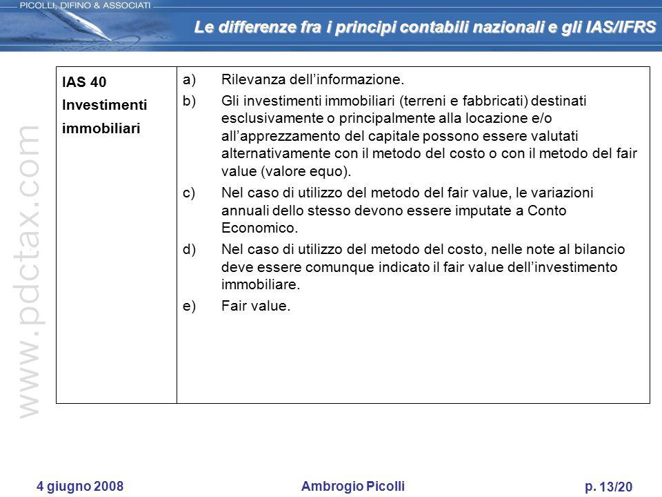 Le differenze fra i principi contabili nazionali e gli IAS/IFRS 12/20 4 giugno 2008 Ambrogio Picolli p. IAS 39 Strumenti finanziari - contabilizzazio