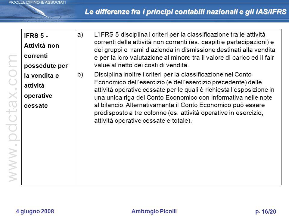 Le differenze fra i principi contabili nazionali e gli IAS/IFRS 15/20 4 giugno 2008 Ambrogio Picolli p. IFRS 3 - Aggregazioni d'imprese a)Substance ov