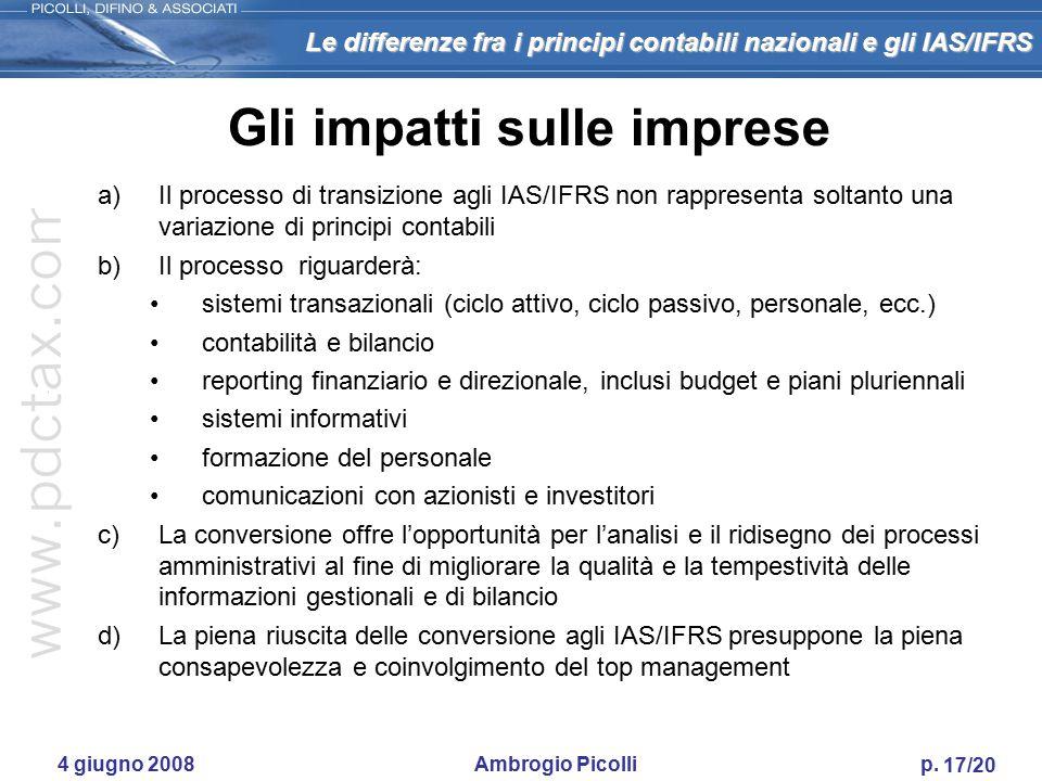 Le differenze fra i principi contabili nazionali e gli IAS/IFRS 16/20 4 giugno 2008 Ambrogio Picolli p. IFRS 5 - Attività non correnti possedute per l
