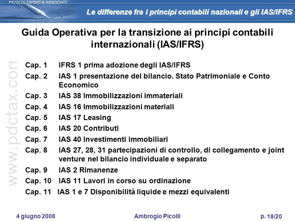 Le differenze fra i principi contabili nazionali e gli IAS/IFRS 17/20 4 giugno 2008 Ambrogio Picolli p. Gli impatti sulle imprese a)Il processo di tra