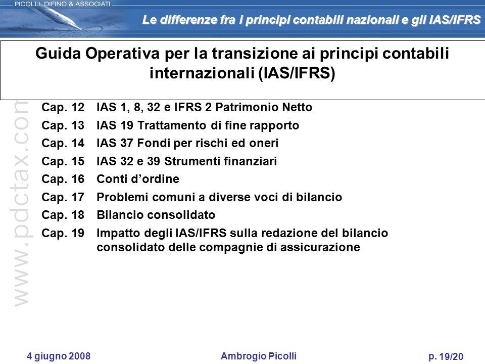 Le differenze fra i principi contabili nazionali e gli IAS/IFRS 18/20 4 giugno 2008 Ambrogio Picolli p. Guida Operativa per la transizione ai principi