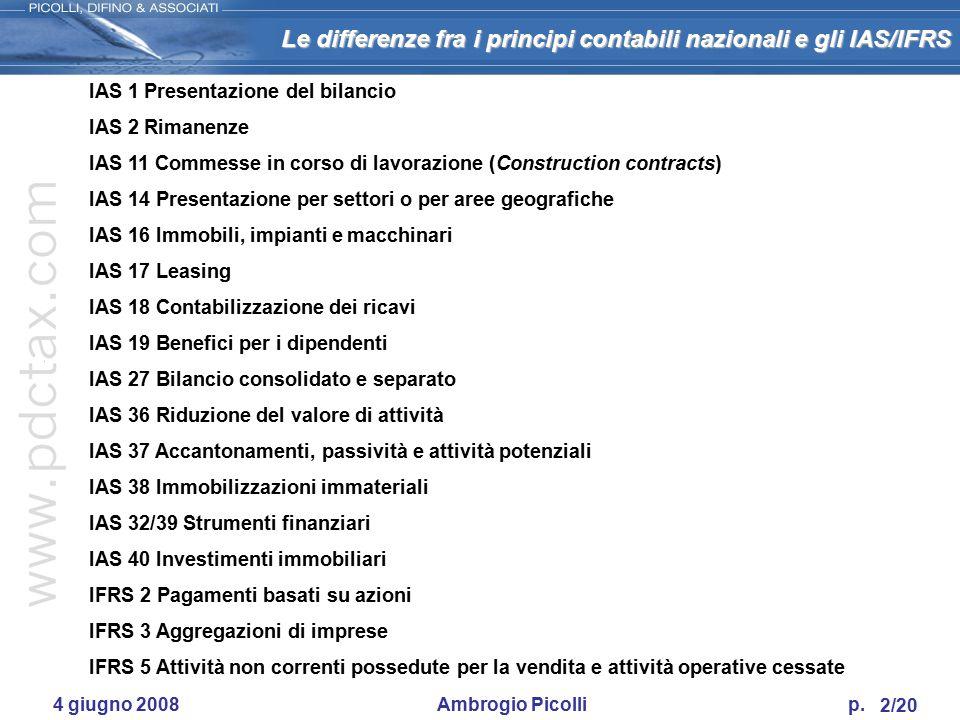 Le differenze fra i principi contabili nazionali e gli IAS/IFRS 1/20 ODCEC di Sondrio I principi contabili internazionali IAS/IFRS: opportunità per le