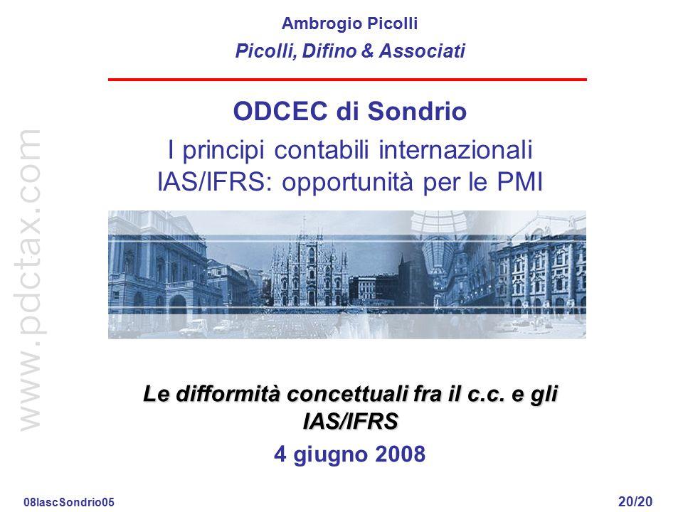 Le differenze fra i principi contabili nazionali e gli IAS/IFRS 19/20 4 giugno 2008 Ambrogio Picolli p. Cap. 12 IAS 1, 8, 32 e IFRS 2 Patrimonio Netto
