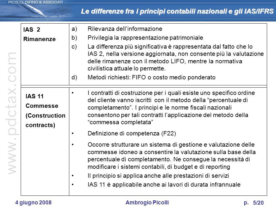 Le differenze fra i principi contabili nazionali e gli IAS/IFRS 4/20 4 giugno 2008 Ambrogio Picolli p. a)Rilevanza dell'informazione b)Oltre che da St