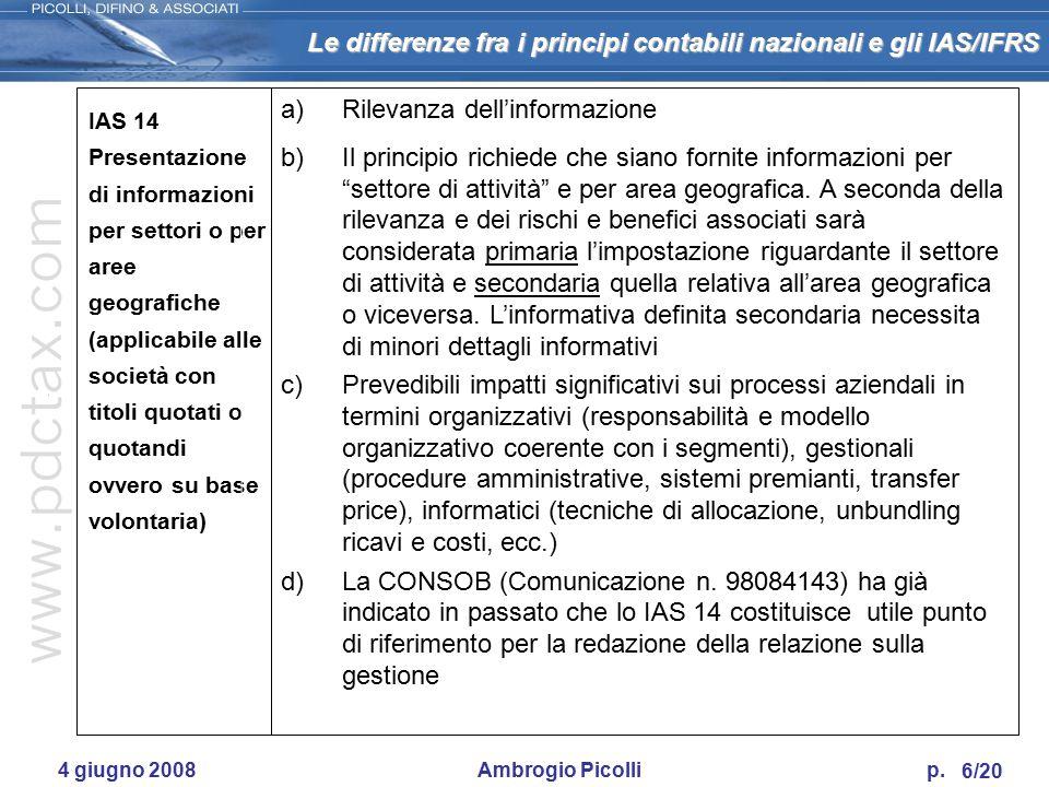 Le differenze fra i principi contabili nazionali e gli IAS/IFRS 5/20 4 giugno 2008 Ambrogio Picolli p. IAS 11 Commesse (Construction contracts) I cont