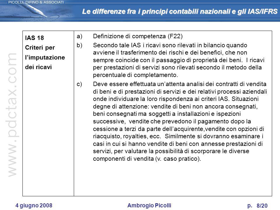 Le differenze fra i principi contabili nazionali e gli IAS/IFRS 7/20 4 giugno 2008 Ambrogio Picolli p. IAS 16 Immobili, impianti e macchinari a)Defini