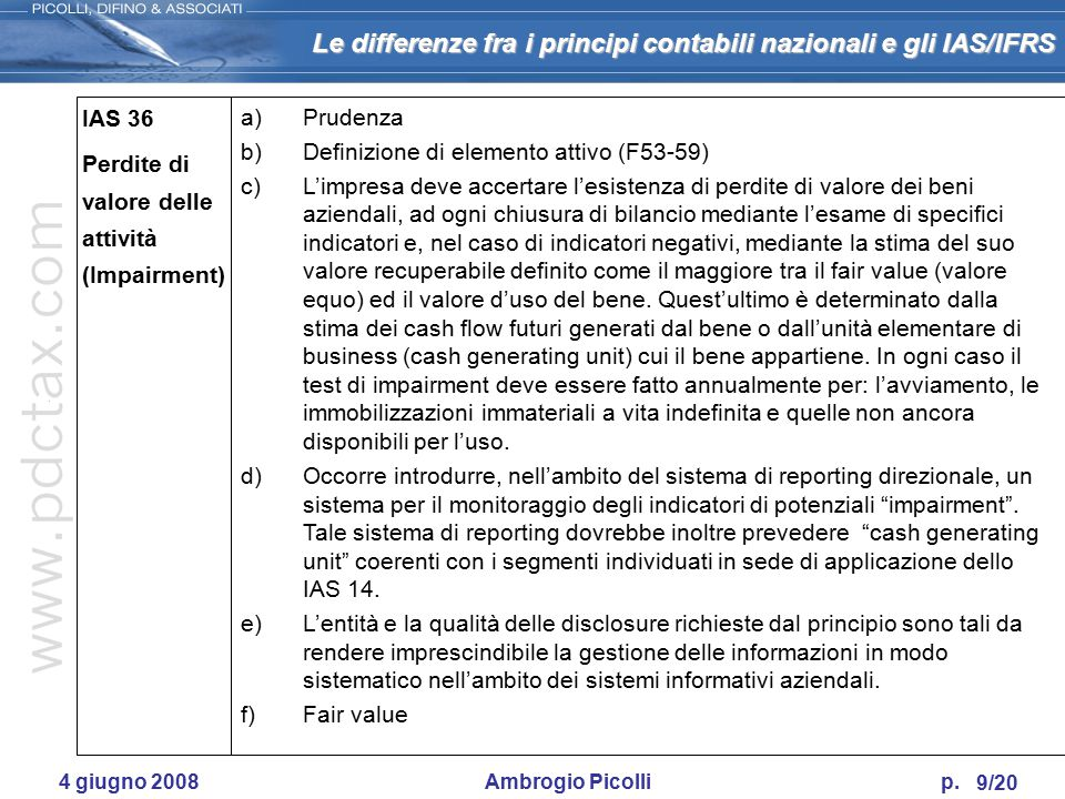 Le differenze fra i principi contabili nazionali e gli IAS/IFRS 8/20 4 giugno 2008 Ambrogio Picolli p. IAS 18 Criteri per l'imputazione dei ricavi a)D