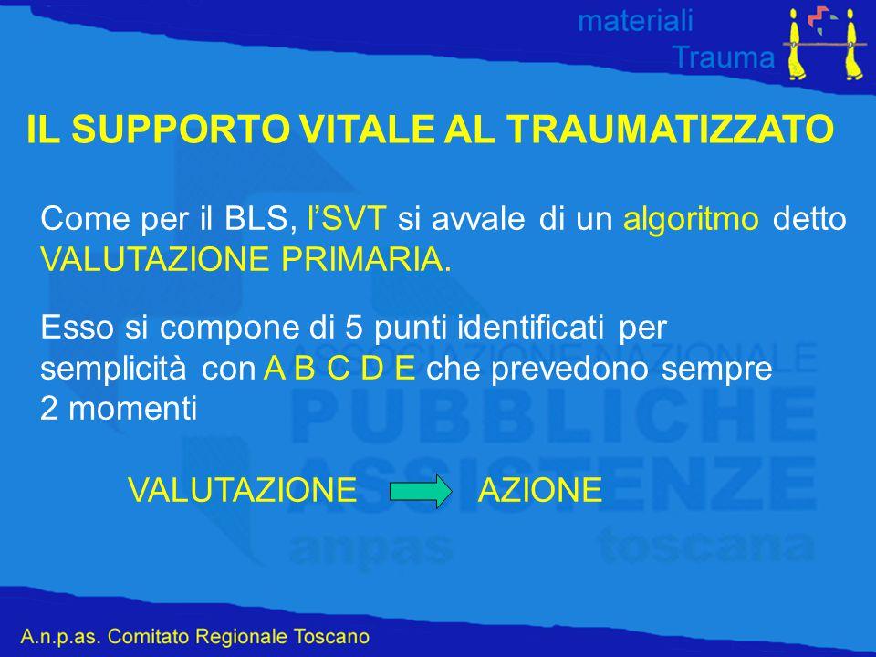 IL SUPPORTO VITALE AL TRAUMATIZZATO Come per il BLS, l'SVT si avvale di un algoritmo detto VALUTAZIONE PRIMARIA. Esso si compone di 5 punti identifica