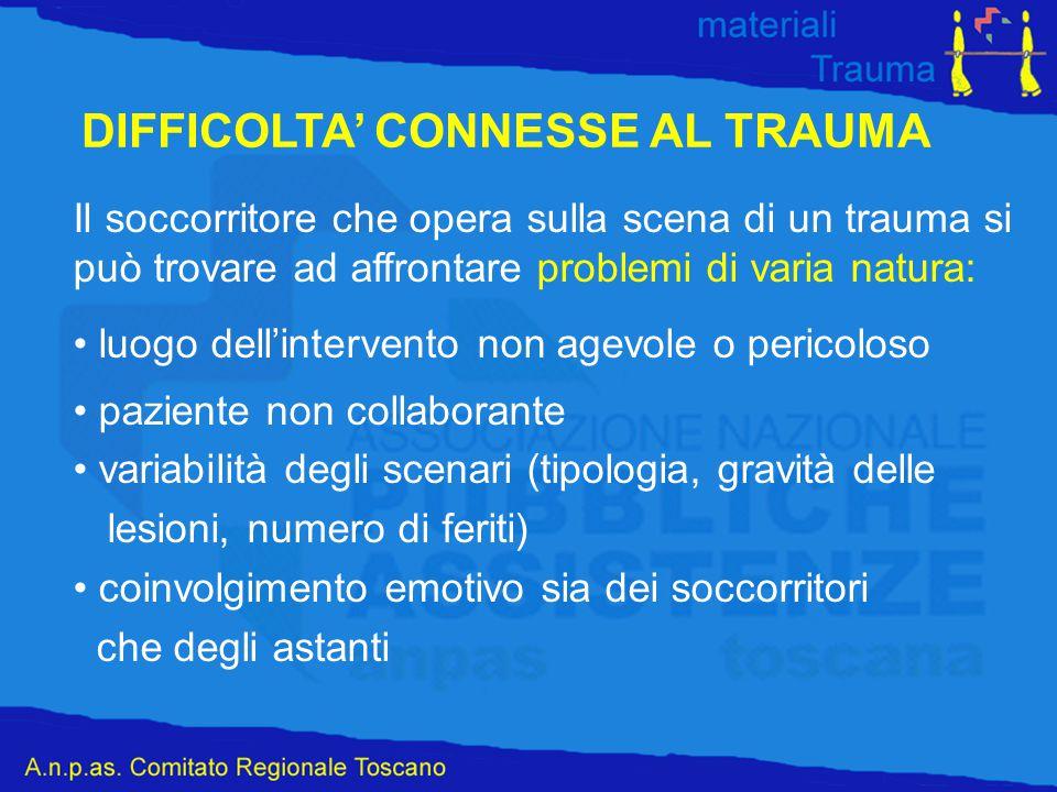 Il soccorritore che opera sulla scena di un trauma si può trovare ad affrontare problemi di varia natura: luogo dell'intervento non agevole o pericolo