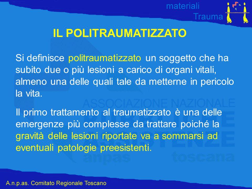 IL POLITRAUMATIZZATO Si definisce politraumatizzato un soggetto che ha subito due o più lesioni a carico di organi vitali, almeno una delle quali tale