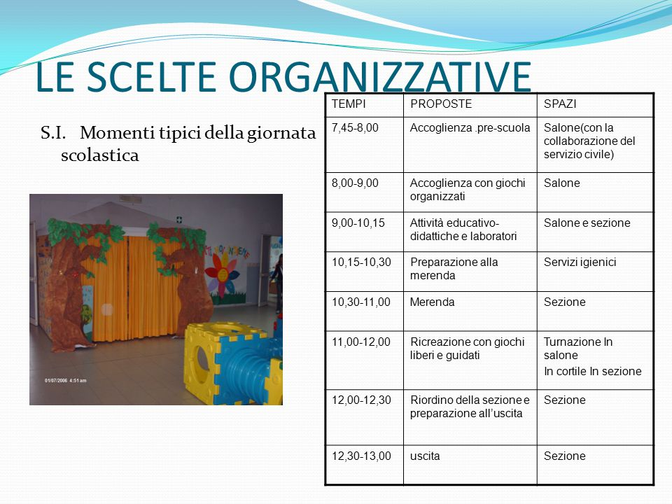 LE SCELTE ORGANIZZATIVE S.I.