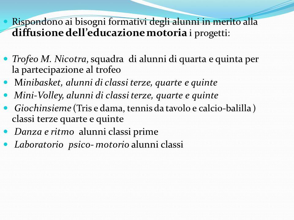 Rispondono ai bisogni formativi degli alunni in merito alla diffusione dell'educazione motoria i progetti: Trofeo M.