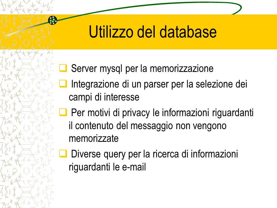 Utilizzo del database  Server mysql per la memorizzazione  Integrazione di un parser per la selezione dei campi di interesse  Per motivi di privacy le informazioni riguardanti il contenuto del messaggio non vengono memorizzate  Diverse query per la ricerca di informazioni riguardanti le e-mail