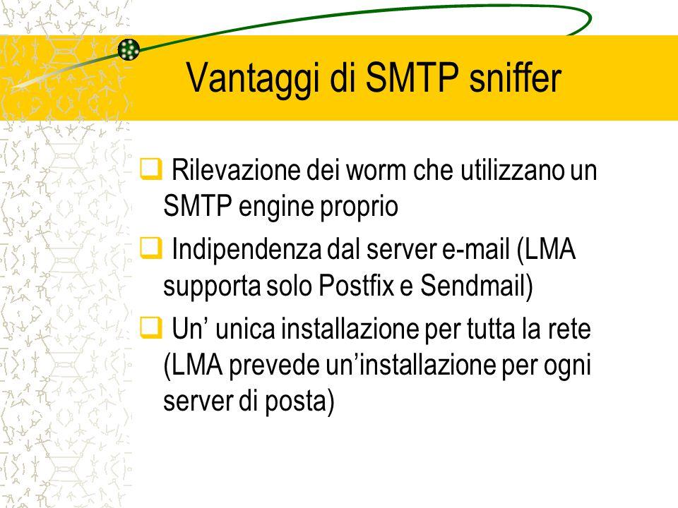 Vantaggi di SMTP sniffer  Rilevazione dei worm che utilizzano un SMTP engine proprio  Indipendenza dal server e-mail (LMA supporta solo Postfix e Sendmail)  Un' unica installazione per tutta la rete (LMA prevede un'installazione per ogni server di posta)