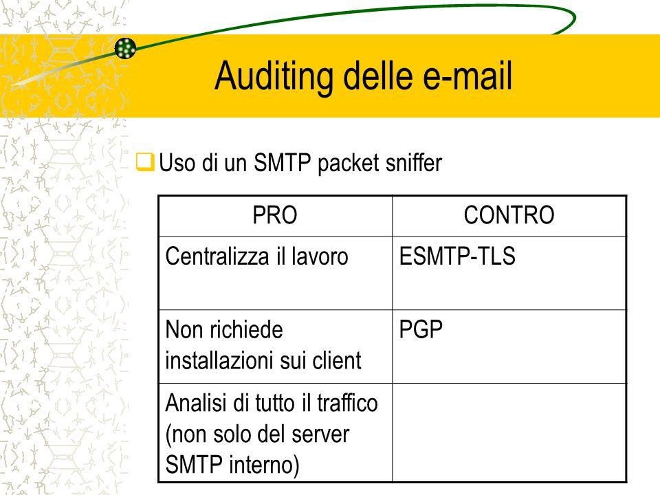 Auditing delle e-mail  Uso di un SMTP packet sniffer PROCONTRO Centralizza il lavoroESMTP-TLS Non richiede installazioni sui client PGP Analisi di tutto il traffico (non solo del server SMTP interno)