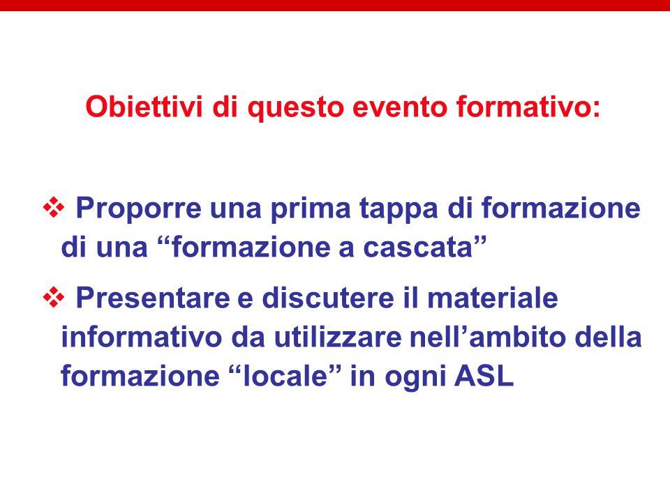 Obiettivi di questo evento formativo:  Proporre una prima tappa di formazione di una formazione a cascata  Presentare e discutere il materiale informativo da utilizzare nell'ambito della formazione locale in ogni ASL