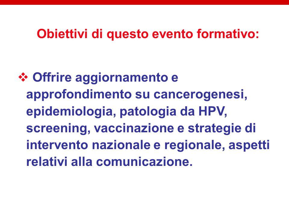 Obiettivi di questo evento formativo:  Offrire aggiornamento e approfondimento su cancerogenesi, epidemiologia, patologia da HPV, screening, vaccinazione e strategie di intervento nazionale e regionale, aspetti relativi alla comunicazione.