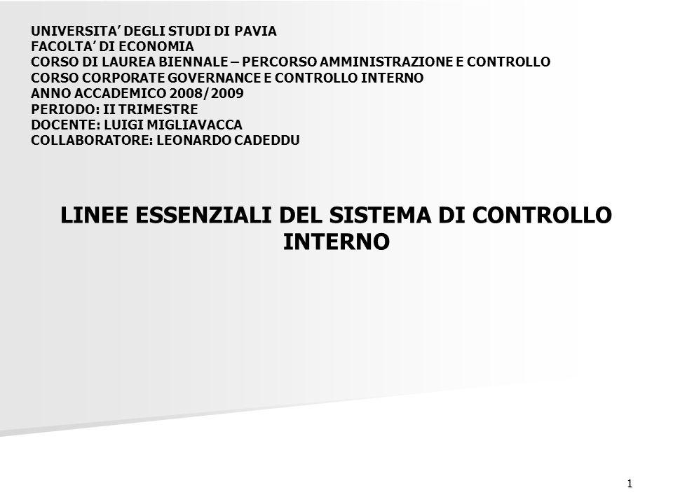 1 LINEE ESSENZIALI DEL SISTEMA DI CONTROLLO INTERNO UNIVERSITA' DEGLI STUDI DI PAVIA FACOLTA' DI ECONOMIA CORSO DI LAUREA BIENNALE – PERCORSO AMMINISTRAZIONE E CONTROLLO CORSO CORPORATE GOVERNANCE E CONTROLLO INTERNO ANNO ACCADEMICO 2008/2009 PERIODO: II TRIMESTRE DOCENTE: LUIGI MIGLIAVACCA COLLABORATORE: LEONARDO CADEDDU