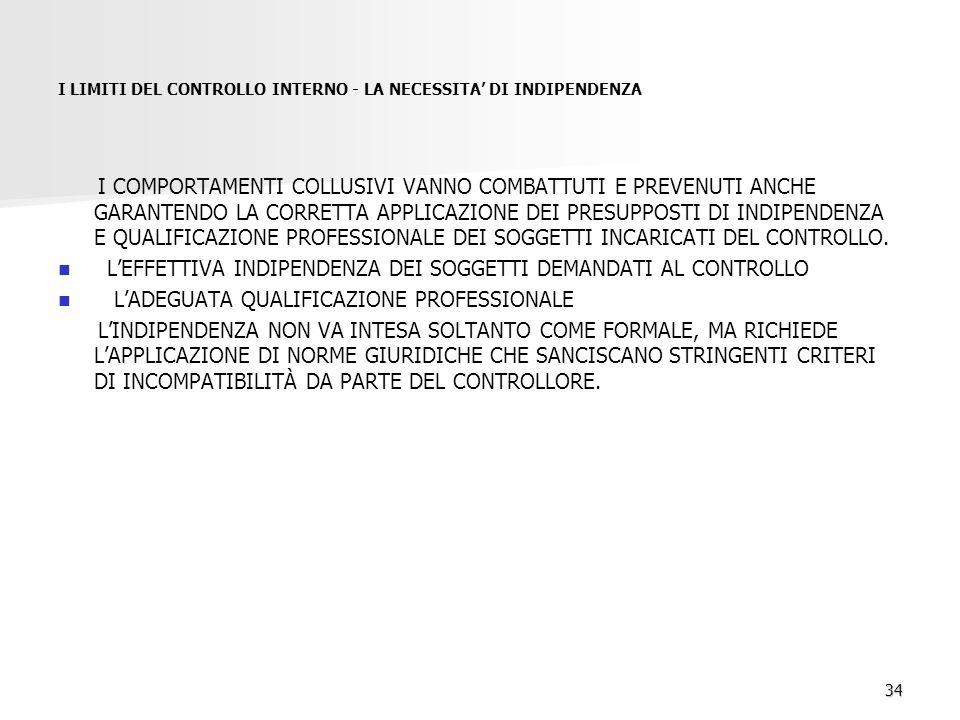 34 I LIMITI DEL CONTROLLO INTERNO - LA NECESSITA' DI INDIPENDENZA I COMPORTAMENTI COLLUSIVI VANNO COMBATTUTI E PREVENUTI ANCHE GARANTENDO LA CORRETTA APPLICAZIONE DEI PRESUPPOSTI DI INDIPENDENZA E QUALIFICAZIONE PROFESSIONALE DEI SOGGETTI INCARICATI DEL CONTROLLO.
