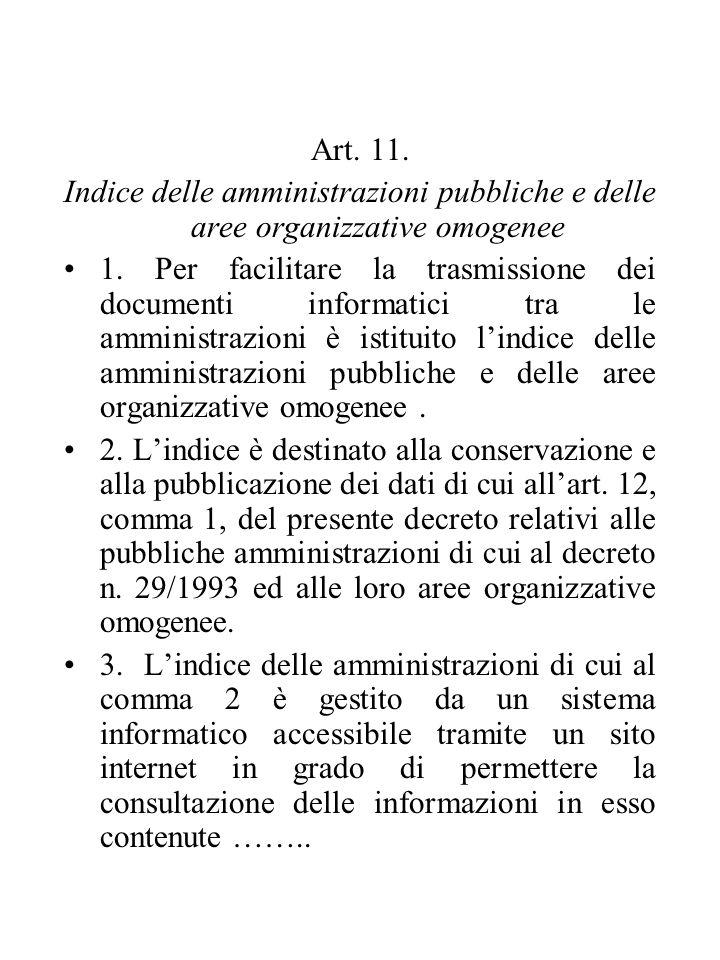 Art. 11. Indice delle amministrazioni pubbliche e delle aree organizzative omogenee 1.