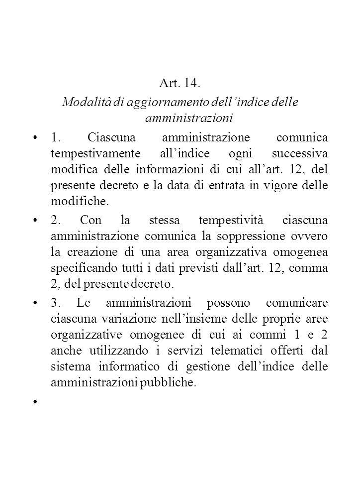 Art. 14. Modalità di aggiornamento dell'indice delle amministrazioni 1. Ciascuna amministrazione comunica tempestivamente all'indice ogni successiva m