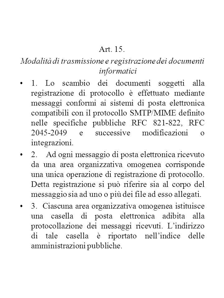 Art. 15. Modalità di trasmissione e registrazione dei documenti informatici 1. Lo scambio dei documenti soggetti alla registrazione di protocollo è ef