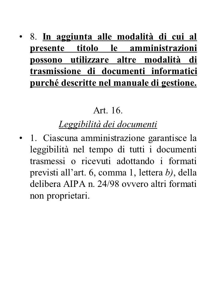 8. In aggiunta alle modalità di cui al presente titolo le amministrazioni possono utilizzare altre modalità di trasmissione di documenti informatici p