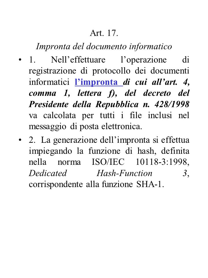 Art. 17. Impronta del documento informatico 1.