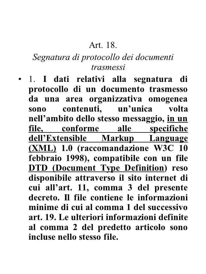 Art. 18. Segnatura di protocollo dei documenti trasmessi 1. I dati relativi alla segnatura di protocollo di un documento trasmesso da una area organiz