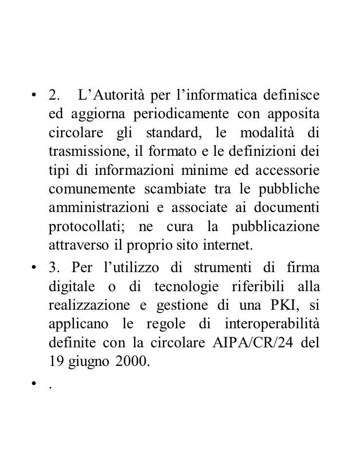 2. L'Autorità per l'informatica definisce ed aggiorna periodicamente con apposita circolare gli standard, le modalità di trasmissione, il formato e le